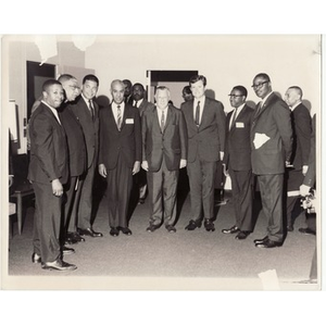 Senators Edward M. Kennedy and Edward W. Brooke with Kivie Kaplan, Virgil Wood, and others.