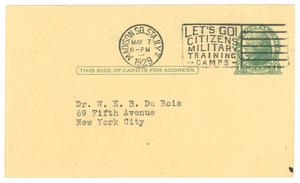 Postcard from James Weldon Johnson to W. E. B. Du Bois