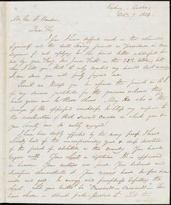 Letter from George Thompson, Boston, [Massachusetts], to Goerge William Benson, 1834 Oct[ober] 7