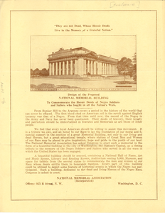 Design of the proposed national memorial building to commemorate the heroic deeds of Negro soldiers and sailors who fought in all the Nation's wars
