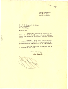 Letter from A. S. Frissel to W. E. B. Du Bois