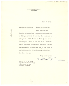 Letter from Conference on Race Relations to W. E. B. Du Bois