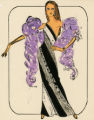 Costume design drawing, showgirl in a black and white one-shoulder evening gown with a lavender feather boa, Las Vegas, June 5, 1980