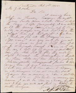 A. J. McElveen, Sumterville, S.C., autograph letter signed to Ziba B. Oakes, 3 February 1855