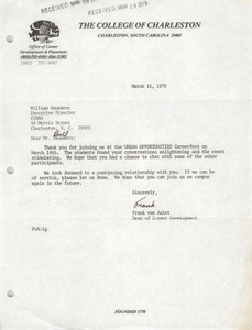 Letter from Frank van Aalst to William Saunders, March 15, 1979