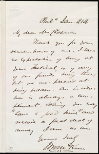 Letter from James Miller M'Kim, Phil[adelphi]a, [Penn.], to Maria Weston Chapman, Jan. 21st, [1860]