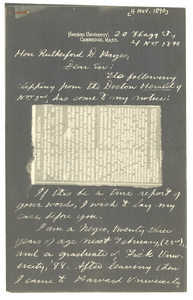 Letter from W. E. B. Du Bois to Rutherford B. Hayes
