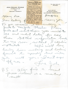 Letter from John Michael Xifaras to Gloria Xifaras Clark