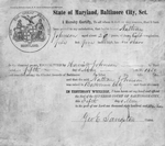 "Manumission certificate for Nathan Johnson from ""State of Maryland, Baltimore City, Sct"""