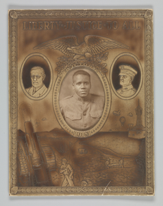 Photographic portrait of a soldier inside decorative military frame