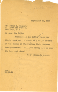 Letter from W. E. B. Du Bois to The Sunrise Club