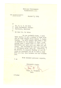 Letter from Charles H. Thompson to W. E. B. Du Bois