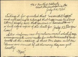 Letter from William Crogman to Ada Crogman Franklin