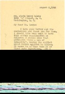 Letter from W. E. B. Du Bois to Alain LeRoy Locke