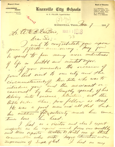 Letter from William J. Cansler to W. E. B. Du Bois