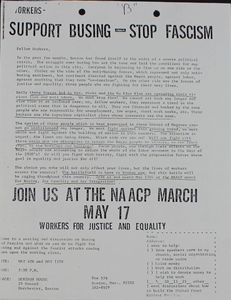Support Busing -- Stop Fascism: A Flyer Supporting the Desegregation of Boston Public Schools and the NAACP March in Boston
