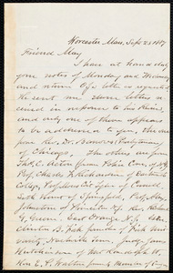 Letter from Joseph Avery Howland, Worcester, Mass., to Samuel May, Sept. 23, 1887