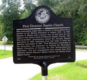 First Ebenezer Baptist Church historical marker