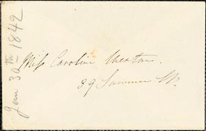 Letter from Edmund Quincy, Dedham, [Mass.], to Maria Weston Chapman, Jan. 30, [18]42