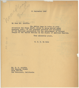 Circular letter from W. E. B. Du Bois to unidentified correspondent