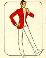 Costume design drawing, male dancer in white pants and red jacket, Las Vegas, June 5, 1980