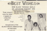 Clipping, Good luck card to Jennifer Walters in the Miss Black Teenage World of Las Vegas Pageant from the Black Media Association of Nevada, 1976