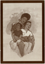 Postcard illustration of African-American mother with her sons