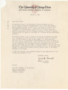 Letter from University of Chicago Press to W. E. B. Du Bois