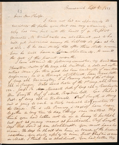 Letter from George Shepard, Brunswick, to Amos Augustus Phelps, Sept 5. 1833