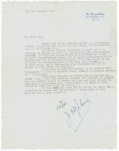 "Letter to Margaret Martin Wallace (""Meg"") from Josephine Baker"