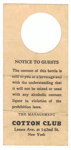 Bottle tag from the Cotton Club