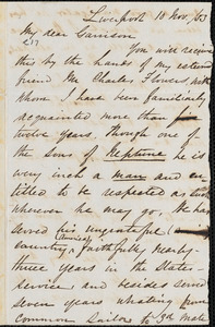Letter from William P. Powell, Liverpool, [England], to William Lloyd Garrison, [18]53 Nov[ember] 10