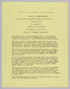 Flyer announcing a speech by Dean G.A. FFrench-Beytagh