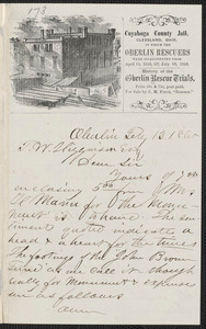 James M. Fitch autograph letter signed to Thomas Wentworth Higginson, Oberlin [Ohio], 13 February 1860
