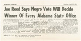 """""""Joe Reed Says Negro Vote Will Decide Winner of Every Alabama State Office."""""""