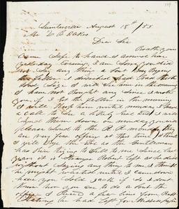 A. J. McElveen, Sumterville, S.C., autograph letter signed to Ziba B. Oakes, 18 August 1853