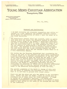 Circular letter from YMCA, Youngstown, Ohio