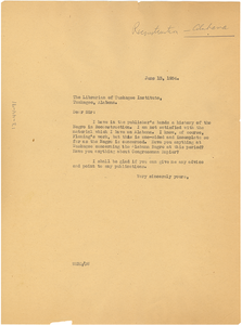 Letter from W. E. B. Du Bois to the Librarian of Tuskegee Institute
