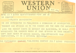 Telegram from Pittsburgh Courier to W. E. B. Du Bois