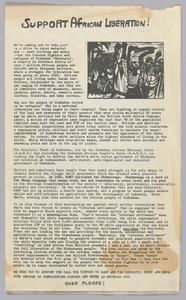 Flyer advertising a clothing drive for Zimbabwean liberation