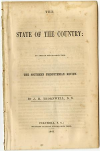 The state of the country : an article republished from the Southern Presbyterian review