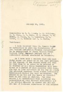 Memorandum from W. E. B. Du Bois to E. C. Brown, L. E. Williams, H. H. Pace, J. E. Nail, J. S. Jones, B. M. Roddy, J. Binga, C. C. Spalding R. R. Moton, J. R. Hawkins, and B. J. Davis.