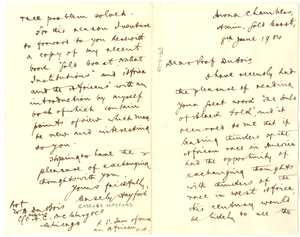 Letter from Casely Hayford to W. E. B. Du Bois