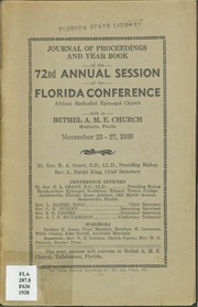Journal of Proceedings and Year Book of the 72nd Annual Session of the Florida Conference, African Methodist Episcopal Church