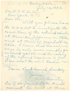 Letter from NAACP Rusk Branch to W. E. B. Du Bois