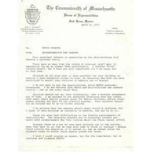 Letter, METCO parents, April 8, 1975.