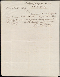 Letter from William B. Dodge, Salem, to Amos Augustus Phelps, July 10 1839