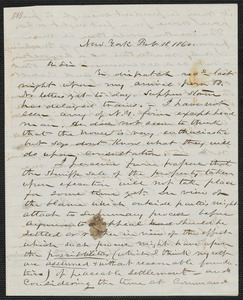 John W. LeBarnes autograph letter signed to [Thomas Wentworth Higginson], New York, 18 February 1860