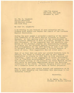 Letter from H. M. Smith to William B. Lipphard