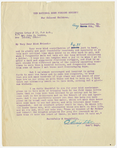 Letter from Reverend Octavius Singleton of the National Home Finding Society to Jephtha Lodge, No. 11, 1922 August 6